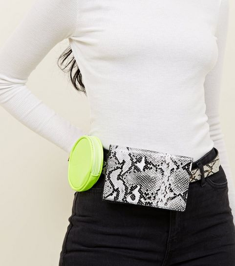 ... Black Faux Snake and Neon Double Belt Bag ... a28372b2b1bb