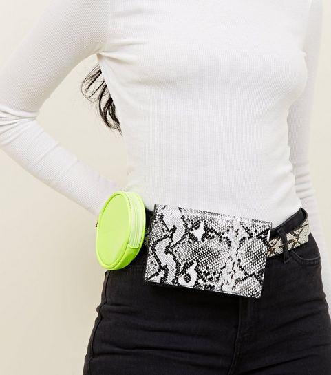 e07425c6133 ... Black Faux Snake and Neon Double Belt Bag ...
