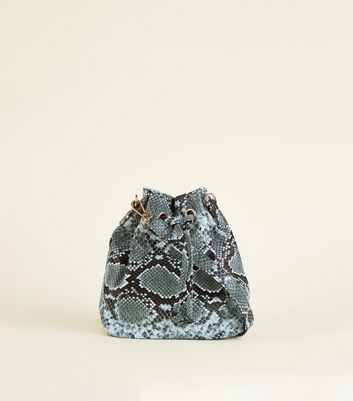 Dark Grey Faux Snake Mini Duffle Bag