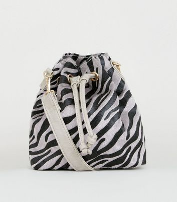 Grey Faux Zebra Mini Duffle Bag