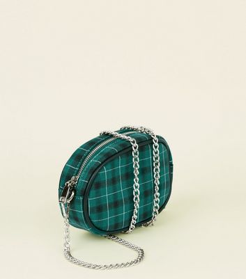 Green Check Cross Body Bum Bag