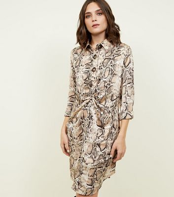 Blue Vanilla Brown Snake Print Satin Shirt Dress