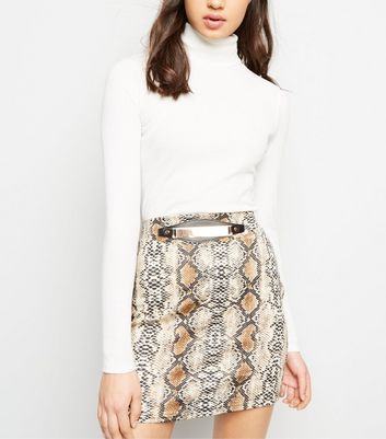 Pink Vanilla Brown Snake Print Gold Belt Skirt