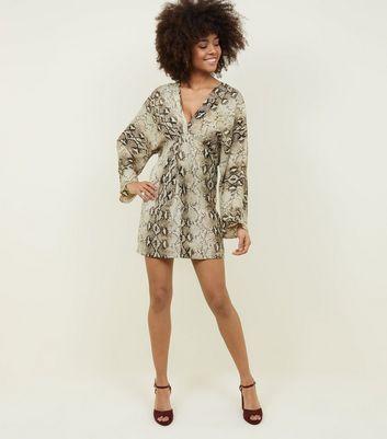 shop for Blue Vanilla Snake Print Twist Front Dress New Look at Shopo