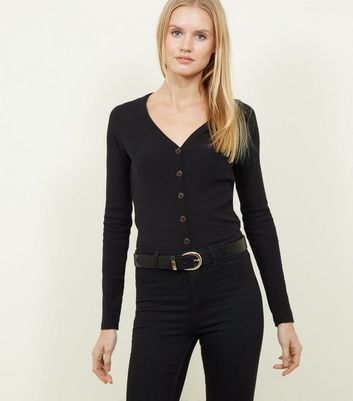 Black Ribbed Button Front Cardigan