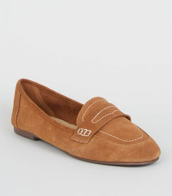 Tan Suede Contrast Stitch Loafers by New Look