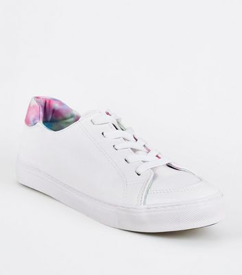 White Leather-Look Tie Dye Trim Trainers