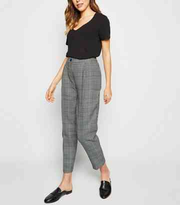 Brown Check Tapered Trousers