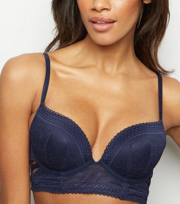 Navy Geometric Lace Cut Out Longline Bra