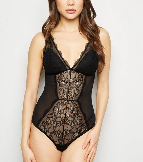 72432419d5f81 ... Black Lace Panel Padded Bodysuit ...