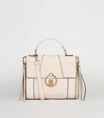 Nude Mixed Panel Ring Front Satchel Bag