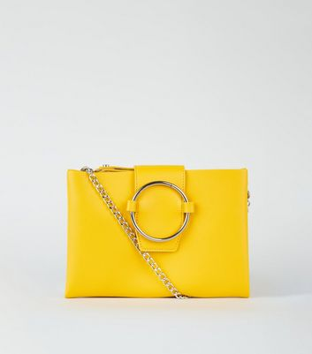 Yellow Leather-Look Ring Front Shoulder Bag