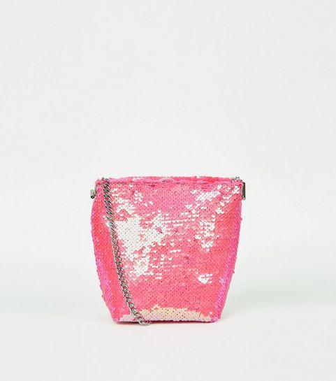 87966a4373 ... Bright Pink Neon Sequin Bucket Bag ...
