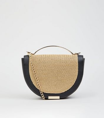 Stone Straw Effect Half Moon Bag