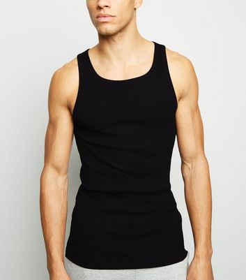 Black Marl Ribbed Muscle Fit Vest