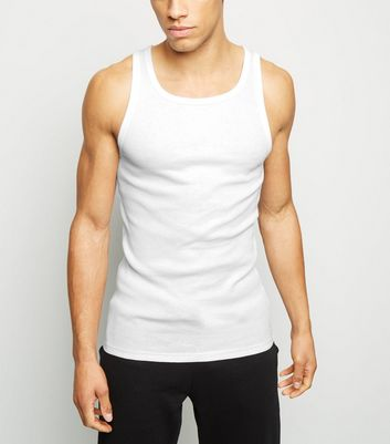 White Marl Ribbed Muscle Fit Vest