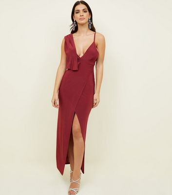 Burgundy Slinky Drape Front Maxi Dress