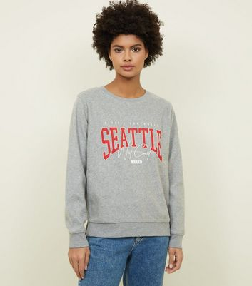 Pale Grey Seattle Print Brushed Jersey Sweatshirt