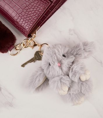 Grey Fluffy Bunny Oversized Keyring
