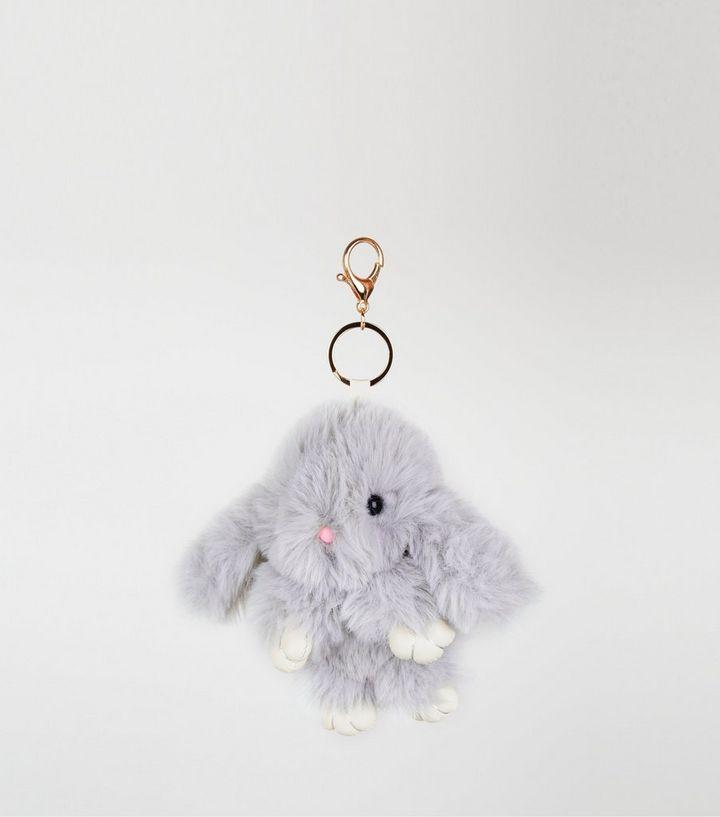 Grey Fluffy Bunny Oversized Keyring  9156dd983e