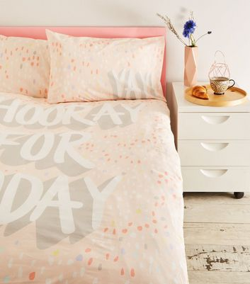 Pink Hooray Slogan Cotton Double Duvet Set