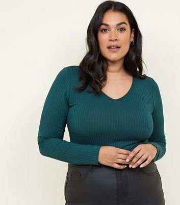 Curves Dark Green Ribbed V Neck Bodysuit