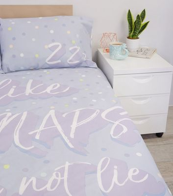 Lilac Big Naps Slogan Cotton Double Duvet Set