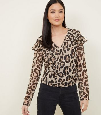 Tokyo Doll Brown Leopard Print Frill Blouse