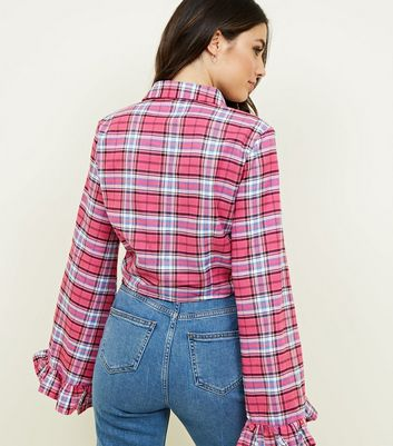 Tokyo Doll Bright Pink Check Cropped Shirt New Look