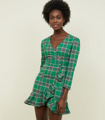 Tokyo Doll Green Check Wrap Front Frill Dress