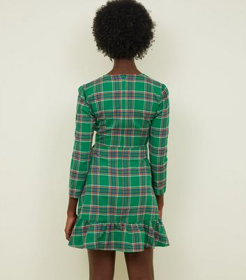 c1e6f0d7c174e Tokyo Doll Green Check Wrap Front Frill Dress New Look - Female First  Shopping