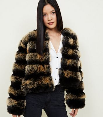 Cameo Rose Black Faux Fur Stripe Jacket