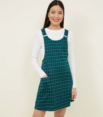 Green Check Metal Buckle Pinafore Dress