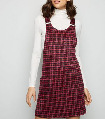 Red Check Metal Buckle Pinafore Dress