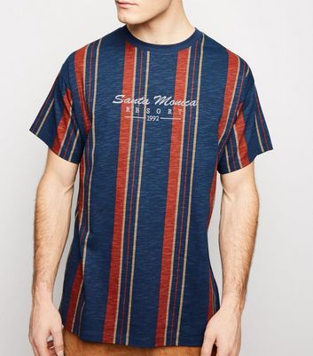 Navy Vertical Stripe Santa Monica Embroidered T-Shirt