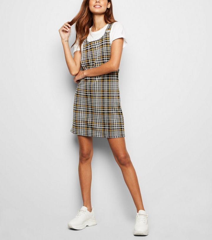 a31b9c92e3d Black Check Jersey Pinafore Dress