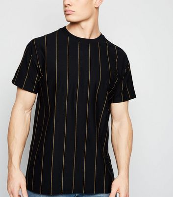 Black Wide Vertical Stripe T-Shirt