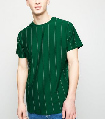 Green and White Wide Vertical Stripe T-Shirt