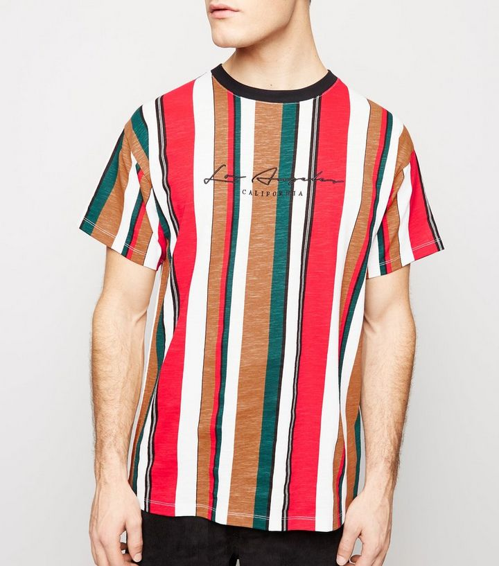 d595aa63eb Red Multi Stripe LA Embroidered T-Shirt | New Look