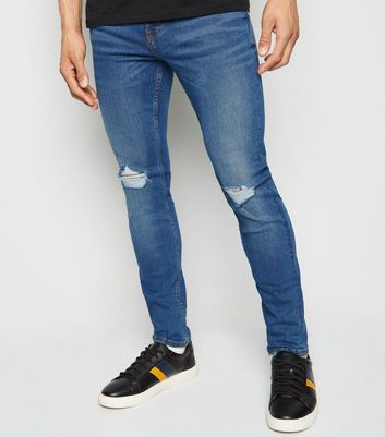 Blue Ripped Knee Super Skinny Stretch Jeans