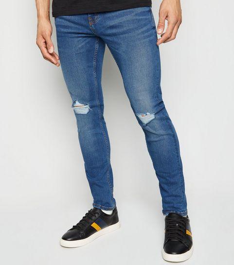 e813c264cd5 ... Blue Ripped Knee Super Skinny Stretch Jeans ...