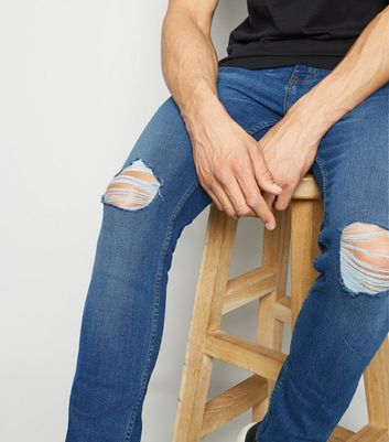 Blue Ripped Knee Super Skinny Stretch Jeans Add to Saved Items Remove from Saved Items