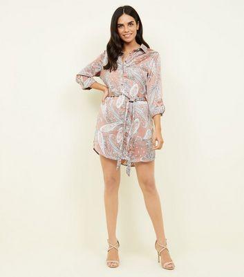 Parisian Pink Paisley Print Tie Waist Shirt Dress New Look