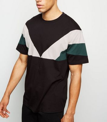 Black Chevron Colour Block Oversized T-Shirt