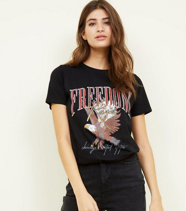 f61c3c425fe3 Black Freedom Eagle Printed T-shirt