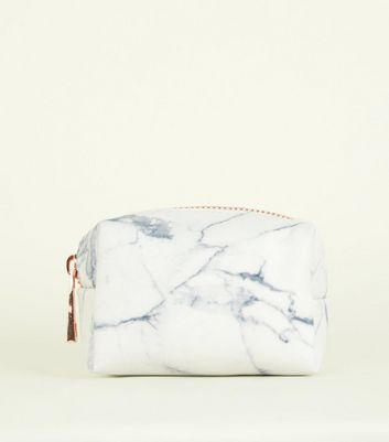 White Marble Effect Mini Zip Pouch