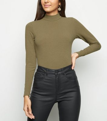 Olive Ribbed Funnel Neck Bodysuit