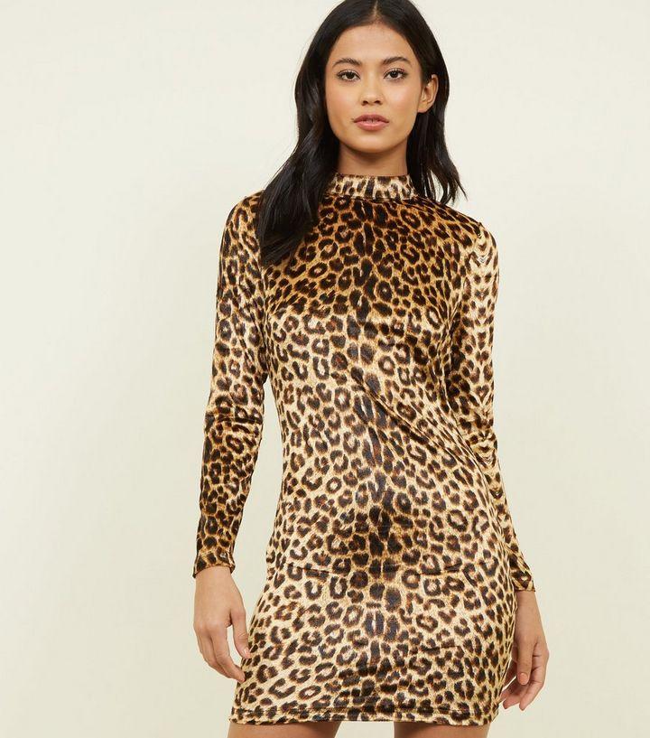 2ac5fad90d Parisian Brown Leopard Print Velvet Dress