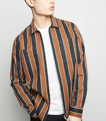 Tan Stripe Long Sleeve Shacket