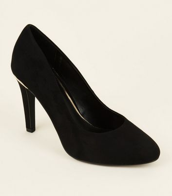 Wide Fit Black Suedette Metal Trim Round Toe Courts